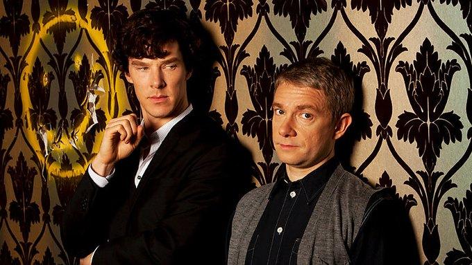Шерлок Холмс (Бенедикт Камбербэтч) и доктор Ватсон (Мартин Фримен). Изображение № 1.