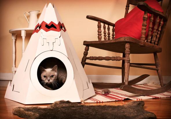 Кошачий домик из картона. Изображение № 1.