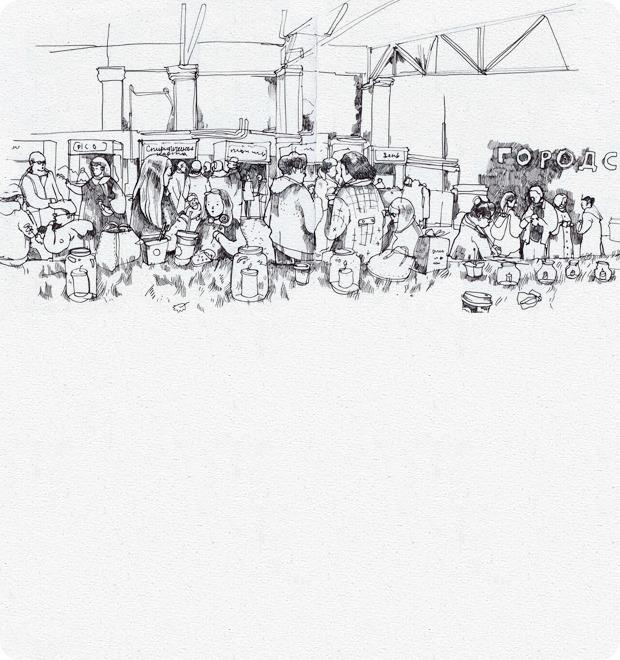 Клуб рисовальщиков: Городской маркет еды на Соколе — Клуб рисовальщиков на The Village