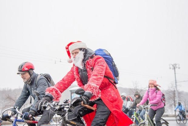Зимний велопарад в Москве в снимках Инстаграм