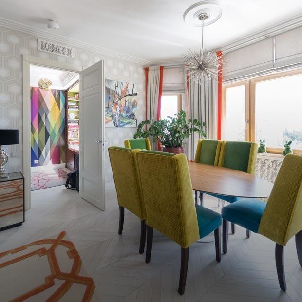 Просторная квартира на Ломоносовском проспекте в бирюзово-оранжевых тонах — Квартира недели на The Village