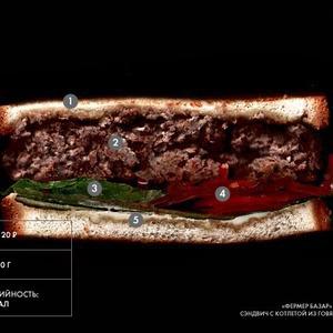 Составные части: Cэндвич с котлетой из говяжьего фарша из «Фермер Базара» в «Цветном» — Составные части на The Village