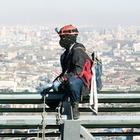 Как моют окна на смотровой площадке «Москва-Сити»