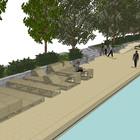 Берег Голицынского пруда в парке Горького обшили деревом и оборудовали розетками