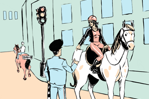 Есть вопрос: «Можно ли ездить по городу на лошади?»