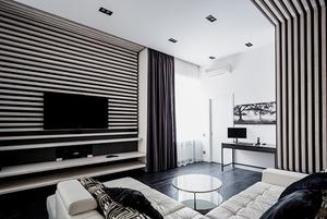 Квартира для Романа вчёрно-белых тонах