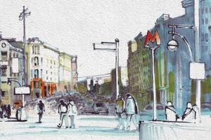 Выставка «Москва в эскизах LAM Sketching Club» в парке «Музеон»