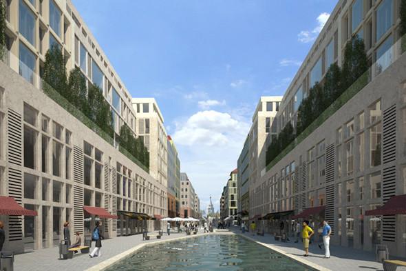План застройки проекта «Влесу» подразумевает большое количество коммерческих площадей напервых этажах. Основная цель— сделать микрогород комфортным идоступным для пешеходов. Изображение №6.
