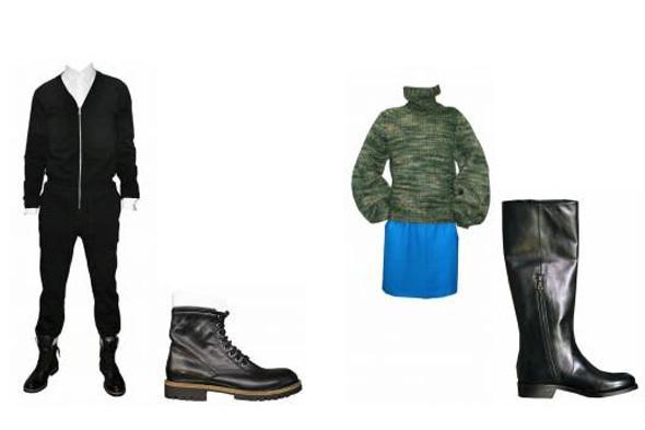 Слева: комбинезон из хлопкового трикотажа, белая хлопковая рубашка, всё — Dries Van Noten, кожаные ботинки, Dries Van Noten. Справа: свитер крупной вязки и шёлковая юбка, всё — Dries Van Noten, кожаные сапоги, Dries Van Noten.. Изображение № 15.