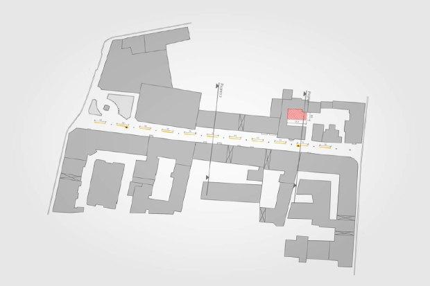 План Столешникова переулка. Красный — ресторанная зона, жёлтый — городская выставка. Изображение № 4.