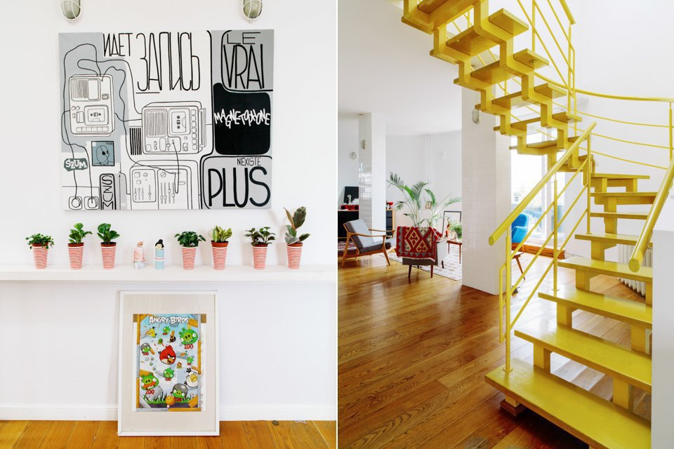 Двухэтажная квартира сжёлтой лестницей исадом набалконе . Изображение № 10.