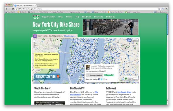 На интерактивной карте любой пользователь отмечает, где бы он хотел видеть велопарковку и почему. Остальные могут проголосовать за выбранное место, прокомментировать инициативу или предложить свой вариант. Изображение № 12.
