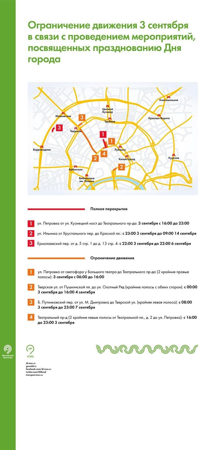 В центре Москвы перед Днём города ограничат движение транспорта. Изображение № 1.