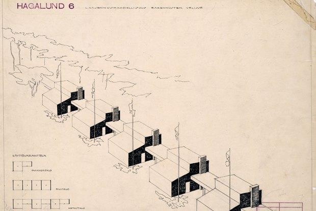 «Дом-цепочка» в районе Тапиола, Эспоо. Аулис Бломстедт, 1953. Изображение № 9.