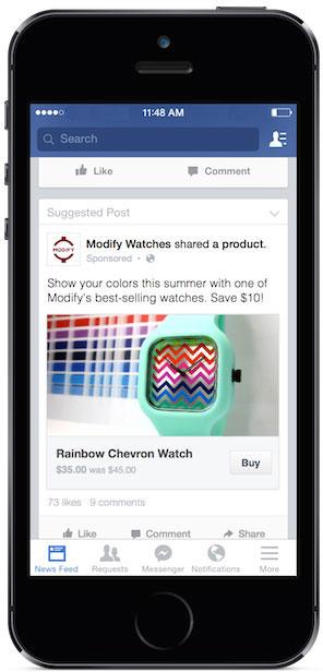 Facebook позволит купить рекламируемые товары, не покидая соцсети. Изображение № 1.