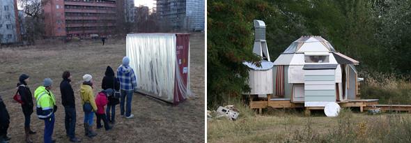 """Слева — """"Ворота света"""", сделаны из старого морского контейнера и лент берлинских фотоавтоматов. Справа — мобильная научная лаборатория.. Изображение № 5."""