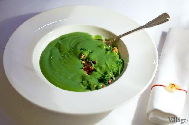 Крем-суп из зелёного горошка с чесночными гренками и беконом, 62 грн.. Изображение № 12.
