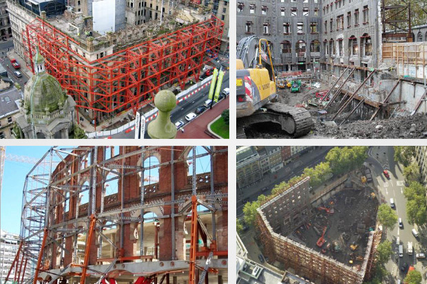Примеры монтажа металлических конструкций для поддержания исторических фасадов. Изображение № 3.