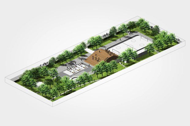 Вид на спортивные и детские площадки и амфитеатр. Изображение № 24.