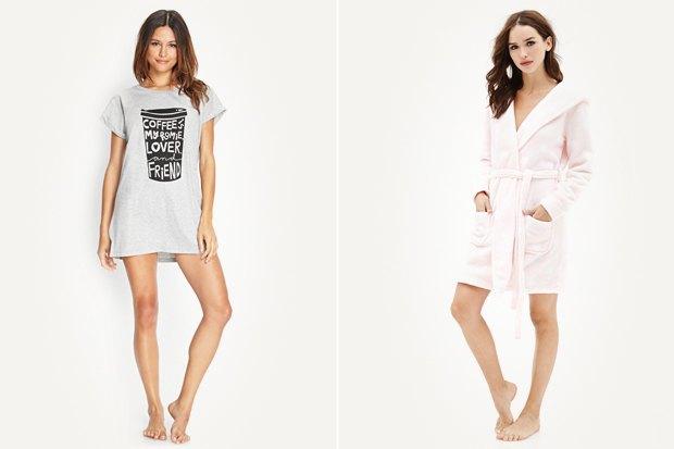 Слева: Ночная рубашка Forever 21, 400 рублей Справа: Халат Forever 21, 850 рублей. Изображение № 20.