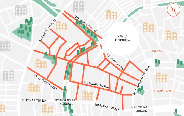 Платную парковку распространят на Большую Дмитровку и Цветной бульвар. Изображение №1.