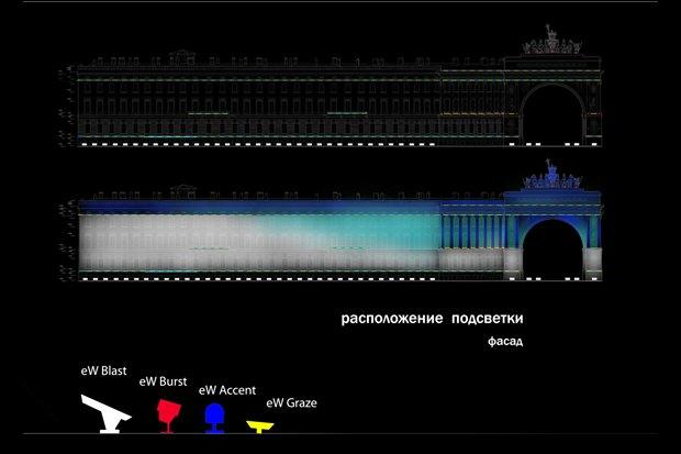 На ночь глядя: 12 проектов подсветки Главного штаба. Изображение № 31.