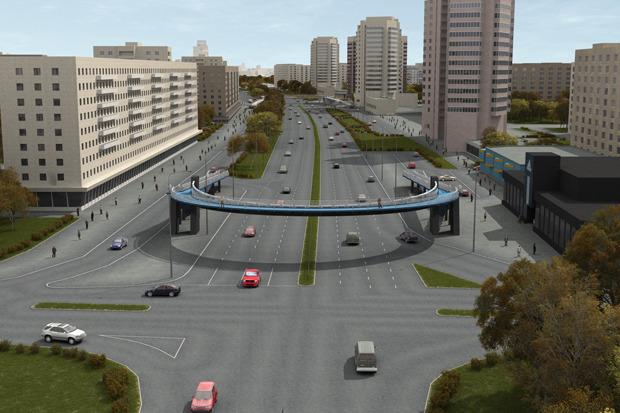 Надземный пешеходный переход на пересечении проспекта Славы и Белградской улицы. Изображение № 4.