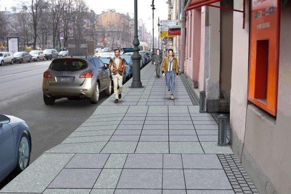 Наулице Восстания укладывают гранитные тротуары взамен бетонных. Изображение № 2.