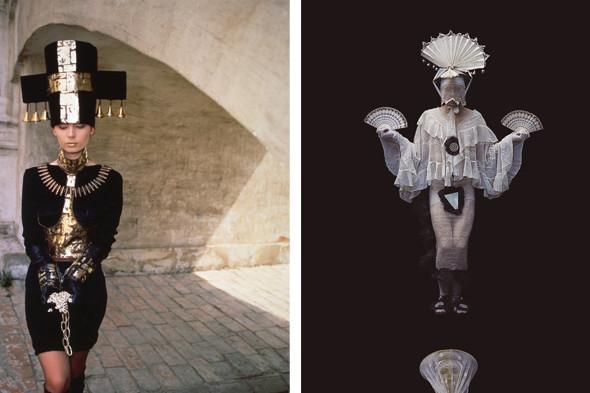 """Слева: модель Екатерины Филипповой из коллекции конца 80-х, фото В. Евтимеева и В. Костичева. Справа: дуэт Ла-ре из коллекции """"Любовь это"""". Фото Ю. Козырева, 1992 год. Изображение № 2."""