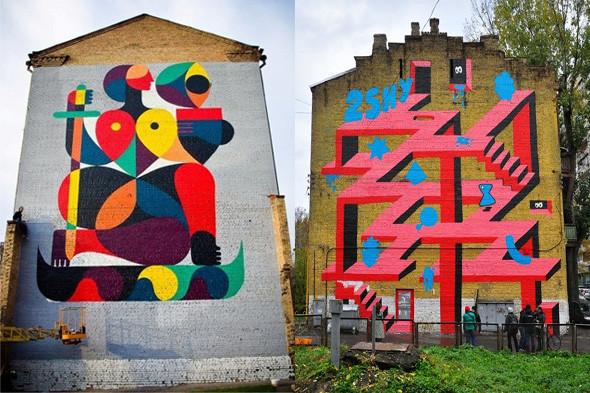 Cлева: фасад дома по ул. Златоустовская, 20. Работа граффитчика Remed. Справа: фасад дома по ул. Гоголевская, 32а. Работа граффитчика Оливье. . Изображение № 3.