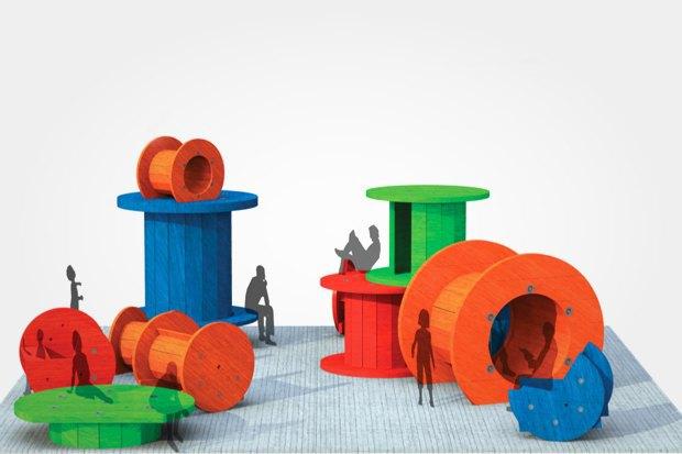 В Басманном районе появятся скамейки и урны из кабельных катушек. Изображение №1.