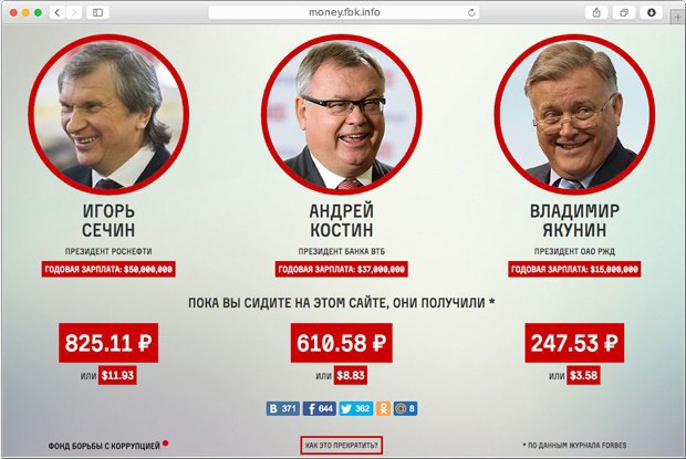 Навальный запустил сайт о зарплатах глав госкомпаний. Изображение № 1.