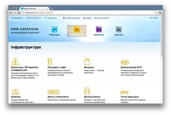 Студия Лебедева создала сайт для аэропорта Борисполь. Изображение № 2.