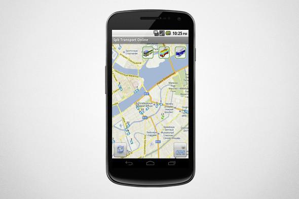 Приложение определяет координаты пользователя и предлагает выбрать подходящий вид транспорта. Изображение № 1.