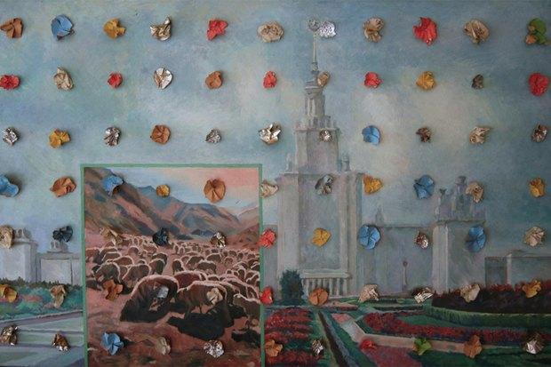 Илья Кабаков. Праздники №1. 1987. Холст, масло, эмаль, бумага. Изображение № 4.