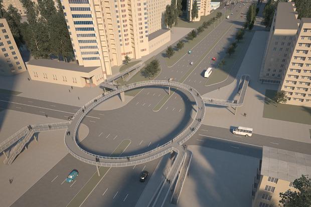 Надземный пешеходный переход на пересечении проспекта Славы и Будапештской улицы. Изображение №1.
