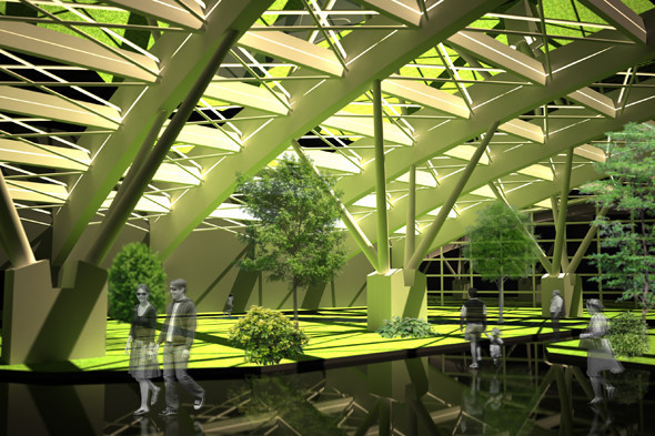 Внутренние помещения третьего уровня, где железные конструкции подпирают застеклённую крышу. Особая конструкция позволяет сделать рекреационную зону при помощи газонов, а также устроить коммерческие помещения.. Изображение № 3.