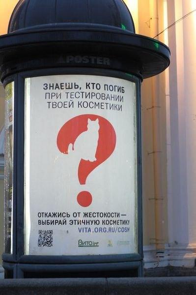 Вцентре появилась социальная реклама против тестов наживотных. Изображение № 1.