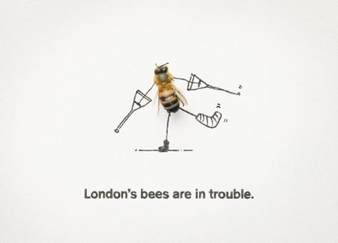 Агентство M&C Saatchi бесплатно разработало серию постеров и видеороликов «Лондонские пчелы в беде». Изображение №2.