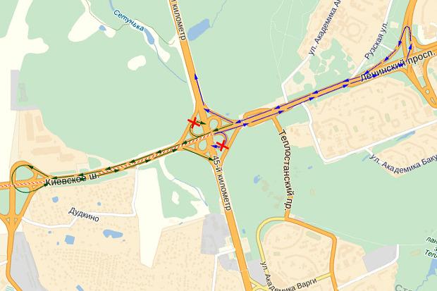 На Киевском шоссе хотят отменить правые повороты на МКАД. Изображение №1.