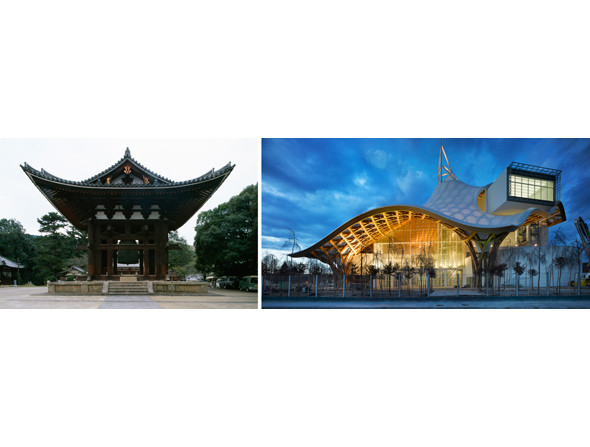 1. Колокольня Тодайдзи, Япония. Архитектор: Эйсай, XIII век. Фото: Уилл Прайс  2. Центр Помпиду-Метц, Метц, Франция. Архитектор: Шигеру Бан 2010 год. Фото: Roland Halbe. Изображение № 17.
