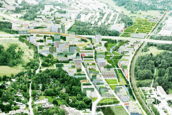 Транспортная инфраструктура проекта Stockholmsporten вШвеции включает трехуровневую развязку, велосипедные ипешеходные дорожки. Проектируемая местность должна стать своеобразным центром, спарками, общественными сооружениями итерриториями, объединяющим северные пригороды Стокгольма. Изображение №12.