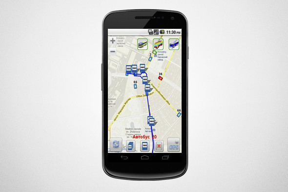 Приложение в режиме реального времени показывает движение автобусов, находящихся поблизости, и рассчитывает время их прибытия на нужную остановку. Изображение № 2.