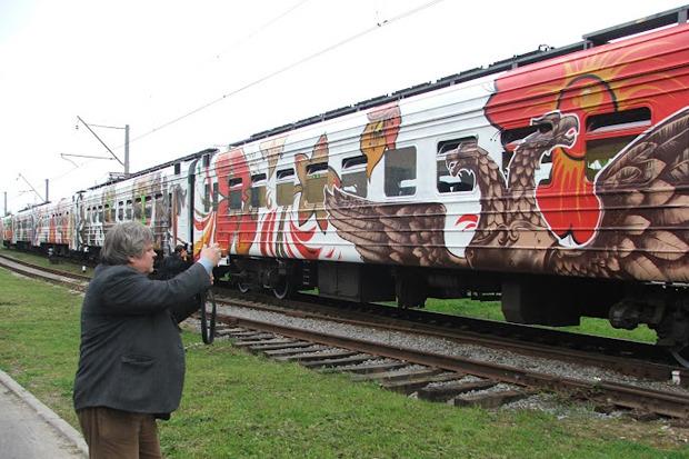 Электричка с граффити будет курсировать между Петербургом и Новгородом. Изображение № 4.