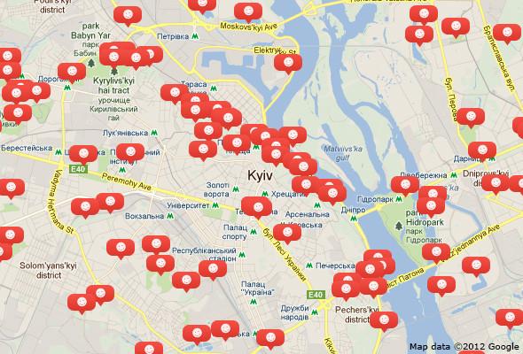 Карта Киева с отмеченными местами, где пройдут субботники.. Изображение №1.