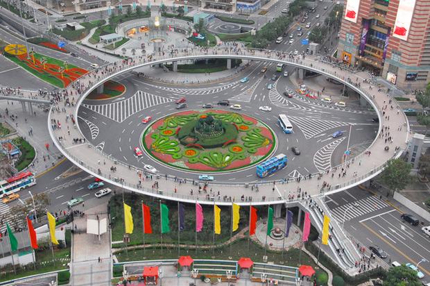 Идеи для города: Круглый пешеходный мост в Шанхае. Изображение №4.