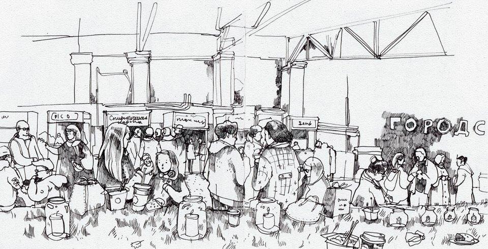 Клуб рисовальщиков: Городской маркет еды на Соколе. Изображение № 11.