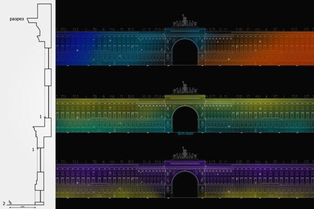 На ночь глядя: 12 проектов подсветки Главного штаба. Изображение № 52.