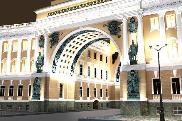 Арку Главного штаба подсветят по примеру Бранденбургских ворот. Изображение № 1.