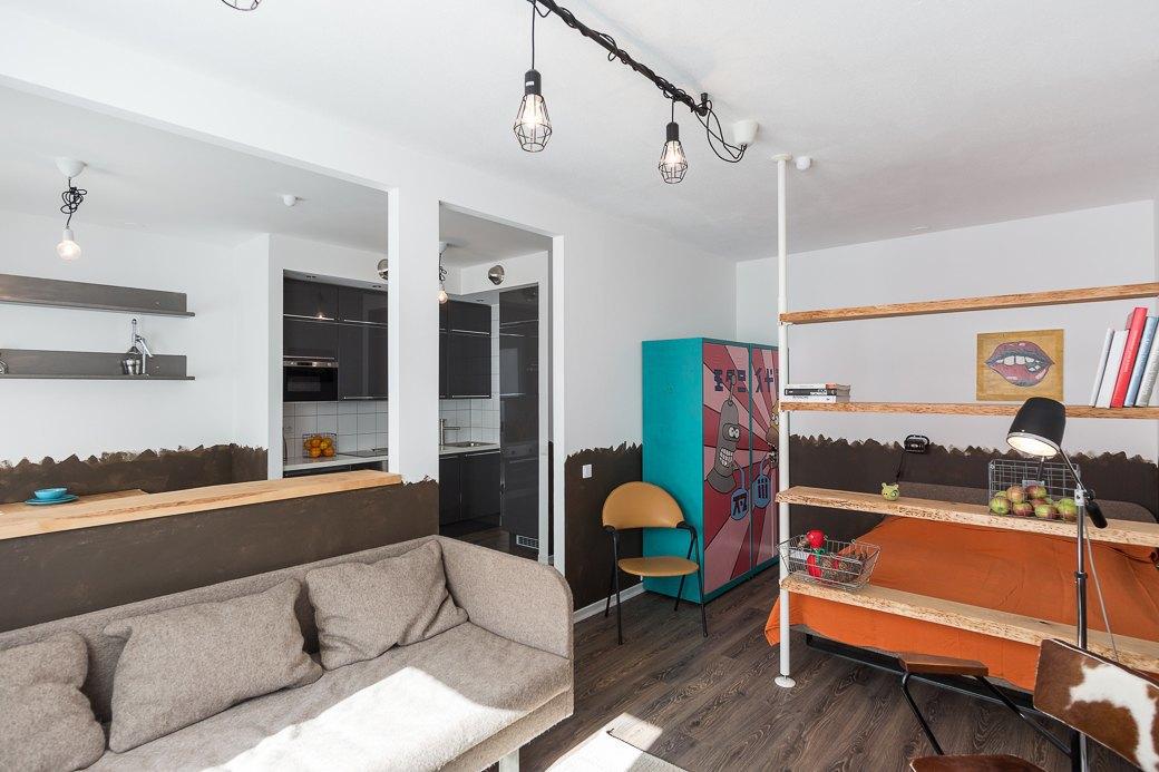 Компактная квартира вДевяткино сбарной стойкой ивинтажными элементами . Изображение № 9.
